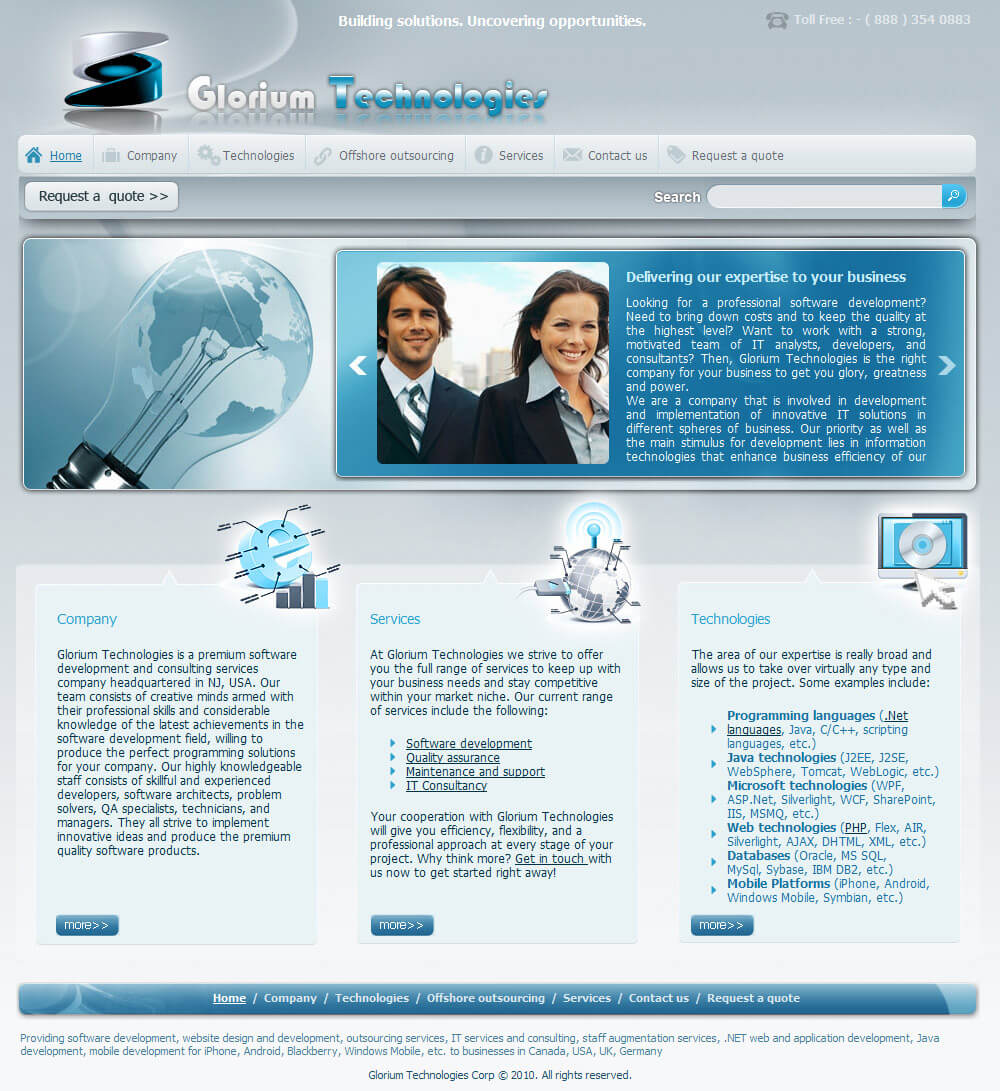 Сайт «Glorium Technologies». Главная страница